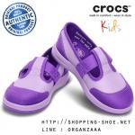 C11 : Crocs Girls' LoPro Mary Jane Sneaker - Iris / Neon Purple ของแท้ Outlet ไทยและอเมริกา