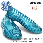 J6 (25 cm.) : Crocs Adrina II Glitter Flat Girls - Surf / Aqua ของแท้ Outlet ไทยและอเมริกา