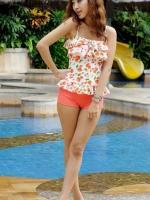 ชุดว่ายน้ำสีส้มโอรส กางเกงขาสั้น เสื้อแต่งระบายที่อก ลายเบอร์รี่สีสันสวยสด