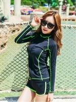 ชุดว่ายน้ำแขนยาวสีดำแต่งเส้นขอบ+เส้นด้ายสีเขียวสะท้อนแสง (เสื้อซิปหน้า)