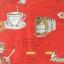ผ้าคอตตอนญี่ปุ่น ลายอาหารสไตล์วินเทจ สีแดง ของ Yuwa Life Collection เนื้อบาง thumbnail 3
