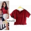 เสื้อแฟชั่น ผ้าฮานาโกะ สีแดง แต่งระบายเอวน่ารักๆ สินค้าคุณภาพ ราคาไม่แพง thumbnail 1