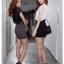 SALE//SALE (ส่งฟรี) 91PF ชุดเดรส ชุดทำงาน สไตล์เกาหลี คุณภาพดี ตัวเสื้อสีดำ ตัดแต่งด้วยผ้าซีฟอง ตัวกระโปรงสีเทา เนื้อผ้ายืดหยุ่นดี เข้ารูป เซ็กซี่สุดๆ thumbnail 5
