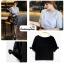 เสื้อแฟชั่น เสื้อทำงาน ผ้าฮานาโกะ สีดำ แต่งโบว์ที่แขน แบบสวยน่ารัก สไตล์เกาหลี สินค้าคุณภาพดี ราคาเบาๆ thumbnail 3