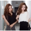 SALE//SALE (ส่งฟรี) 91PF ชุดเดรส ชุดทำงาน สไตล์เกาหลี คุณภาพดี ตัวเสื้อสีดำ ตัดแต่งด้วยผ้าซีฟอง ตัวกระโปรงสีเทา เนื้อผ้ายืดหยุ่นดี เข้ารูป เซ็กซี่สุดๆ thumbnail 3