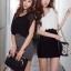 SALE//SALE (ส่งฟรี) 91PF ชุดเดรส ชุดทำงาน สไตล์เกาหลี คุณภาพดี ตัวเสื้อสีดำ ตัดแต่งด้วยผ้าซีฟอง ตัวกระโปรงสีเทา เนื้อผ้ายืดหยุ่นดี เข้ารูป เซ็กซี่สุดๆ thumbnail 2