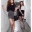 SALE//SALE (ส่งฟรี) 91PF ชุดเดรส ชุดทำงาน สไตล์เกาหลี คุณภาพดี ตัวเสื้อสีดำ ตัดแต่งด้วยผ้าซีฟอง ตัวกระโปรงสีเทา เนื้อผ้ายืดหยุ่นดี เข้ารูป เซ็กซี่สุดๆ thumbnail 8