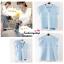 เสื้อแฟชั่นผ้าฮานาโกะ เสื้อทำงาน สีฟ้า คอวี แต่งระบายแขน สวยหวาน เรียบร้อย สินค้าคุณภาพ ราคาไม่แพง thumbnail 2