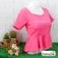เสื้อแฟชั่น เสื้อทำงาน ผ้าฮานาโกะ สีชมพูเข้ม ดีไซน์สวยเรียบหรู สินค้าคุณภาพ ราคาไม่แพง thumbnail 2