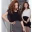 SALE//SALE (ส่งฟรี) 91PF ชุดเดรส ชุดทำงาน สไตล์เกาหลี คุณภาพดี ตัวเสื้อสีดำ ตัดแต่งด้วยผ้าซีฟอง ตัวกระโปรงสีเทา เนื้อผ้ายืดหยุ่นดี เข้ารูป เซ็กซี่สุดๆ thumbnail 7