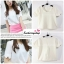 เสื้อแฟชั่นผ้าฮานาโกะ เสื้อทำงาน สีขาว คอและแขนเป็นหยักๆ สวยหวาน สินค้าคุณภาพ ราคาไม่แพง thumbnail 2