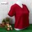 เสื้อแฟชั่น ผ้าฮานาโกะ สีแดง คอวีพับแขนเก๋ๆ สินค้าคุณภาพ ราคาไม่แพง thumbnail 3