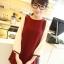 (หมดจ้า) ชุดเดรส สไตล์เกาหลี สีไวน์แดง แขนเสื้อสีขาว ไหล่ตุ๊กตา มีซิปด้านหลัง น่ารักมากค่ะ thumbnail 2