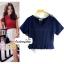 เสื้อแฟชั่น ผ้าฮานาโกะ สีกรมท่า แต่งระบายเอวน่ารักๆ สินค้าคุณภาพ ราคาไม่แพง thumbnail 1