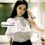 เสื้อผ้าแฟชั่น เสื้อทำงาน ผ้าฮานาโกะ สีขาว แขนกุด แต่งระบายอก สวยเปรี้ยวปนหวาน เว้าไหล่ แบบสวยมากๆค่ะ thumbnail 4