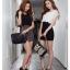 SALE//SALE (ส่งฟรี) 91PF ชุดเดรส ชุดทำงาน สไตล์เกาหลี คุณภาพดี ตัวเสื้อสีดำ ตัดแต่งด้วยผ้าซีฟอง ตัวกระโปรงสีเทา เนื้อผ้ายืดหยุ่นดี เข้ารูป เซ็กซี่สุดๆ thumbnail 6