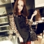(หมดจ้า) ชุดเดรสเกาหลีสีดำ แขนยาวลายเสือ แต่งโบว์ด้านหน้าน่ารักมากๆ thumbnail 1