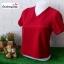 เสื้อแฟชั่น ผ้าฮานาโกะ สีแดง คอวีพับแขนเก๋ๆ สินค้าคุณภาพ ราคาไม่แพง thumbnail 2