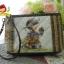 กระเป๋าใส่ของจุกจิก คล้องมือ สายหนังแท้ ต่อผ้าควิลล์มือ ขนาด กว้าง 20 สูง 13.5 ซม thumbnail 2