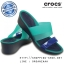 W6 (23.5 cm.) : Crocs Colorblock Mini Wedge - Tropical Teal / Nautical Navy ของแท้ Outlet ไทยและอเมริกา thumbnail 1