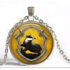Silver Hufflepuff crystal necklace