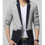 ฟรีถุงสูท จองราคาพิเศษ!!เสื้อสูทแฟชั่น ตัวเล็ก สลิมฟิต ปกเปิด ตัดต่อ cross Size No.34 36 38 40 42 44 46 เทาอ่อนกรม