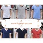 เสื้อยืดคอวี T shirt แฟชั่น คอทูโทน No.35 37 39 41 43
