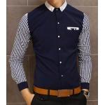 2สี เสื้อเชิ้ตแขนยาว ตัวเล็กแต่งกระเป๋า ตัดต่อทูโทนแขนลาย สีขาว น้ำเงิน size 34 36 38 40
