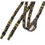 สายรัดกางเกงเอี๊ยม วินเทจ หัวทองเหลือง กว้าง 2cm แบบ Y ยืดหยุ่น สีลายพราง