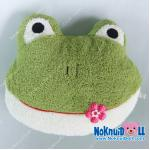 หมอนอิงตุ๊กตา หัว กบ ผ้าขนหนู เล็ก-กว้าง16นิ้ว สีเขียวเข้ม