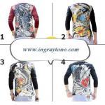 3D3มิติ เลือกสี ลาย!!เสื้อยืดยากูซ่าแขนยาว ญี่ปุ่น ทรงฟิต สกรีนลายศิลปะ No.36 38 40 42