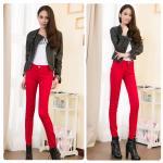 กางเกงยีนส์ผ้ายืด สีแดง size 26