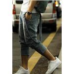 กางเกงยีนส์ เอี๊ยม แฟชั่น เด็กแนว เป้าต่ำ ขาสอบเอว No.28-33 ฟ้าอมเทา