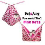 PJ-PYR001-PIDT PetsJunG - Pyramid 2in1 บ้านปิรามิด 2in1 ลายจุดสีชมพู