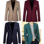 5สีสัน เล็กจองฟรีถุงสูท!!เสื้อสูทแฟชั่น สลิมฟิต สีพิเศษ Size No.33 35 37 39 41 43 น้ำเงิน เบจ แดงสด แดงเข้ม น้ำตาล