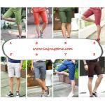 หลากสีใหญ่พิเศษ !!กางเกงสแล็คขาสั้นหน้าร้อน แฟชั่นทรงสลิม พับขาลายสก็อตเล็ก แต่งกระเป๋า XG เอว No.28-40 สี 1-8 ,สีกรม , น้ำเงิน กากี