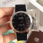 นาฬิกาข้อมือ Coach รุ่น MADDY STAINLESS STEEL 40MM RUBBER STRAP WATCH BLACK W6033