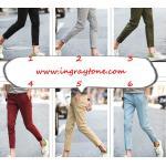กางเกงสแล็คแฟชั่น 4ส่นแต่งเทป kq No.28-36 ขาว เทา กากี ดำ น้ำเงิน เขียว เขียวเข้ม แดง