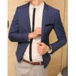 เสื้อสูทสลิมฟิต แขนยาว ตัวเล็ก สั้น คลิบกำมะหยี่ Size No.34 ฟ้าเข้ม