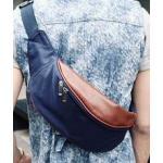 กระเป๋าสะพายข้าง คาดเอว แบบกันน้ำ หนังน้ำตาล สี น้ำเงิน