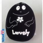 หมอนอิง รูปไข่ เม็ดโฟม ผ้าสแปนเด็กซ์(Spandex) Lovely สูง12นิ้ว สีดำ