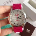 นาฬิกาข้อมือ Coach รุ่น MADDY STAINLESS STEEL 40MM RUBBER STRAP WATCH PINK W6033