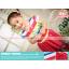 ชุดเดรสเด็กผู้หญิง แถบสีสันสดใส ติดโบว์ กระโปรงชีฟอง สีแดง thumbnail 1