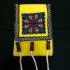 กระเป๋าใส่เหรียญ คล้องคอ สีเหลืองปักลายดอกสีชมพู ใบเล็กน่ารัก มีช่องใส่โทรศัพท์และมีช่องซิปใส่เหรียญ