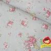 ผ้าคอตตอน / ผ้าฝ้ายญี่ปุ่นลายช่อดอกกุหลาบ ของ Yuwa Life Collection พื้นเขียวอมเทา เนิ้อบาง