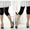 กางเกงเลคกิ้งขาสี่ส่วนแบบยางยืด ประดับมุก : สีดำ รหัส PN138