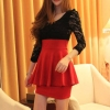 sexy dress [Pre order] สีแดง แขนยาว