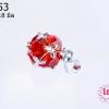 ตัวแต่งโรเดียม จี้ลูกปัด ตกแต่งสร้อยหินนำโชค รูปบอลเพชร สีแดง 9x18 มิล (1ชิ้น)