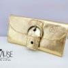 กระเป๋าเงินใบยาว MUSE สี ทอง งานหนังแท้ทั้งใบ กระดุมเป็นหัวเข็มขัด แบบหรู ดูดีมากค่ะ