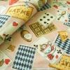ผ้าคอตตอน ผ้าฝ้าย ญี่ปุ่น ลาย Alice in Wonderland สีชมพูหวาน ของ Cosmo Textile เนื้อฝ้ายแท้ 100%
